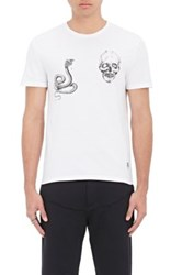 Alexander Mcqueen Men's Snake And Skull Cotton Jersey T Shirt White No Color White No Color