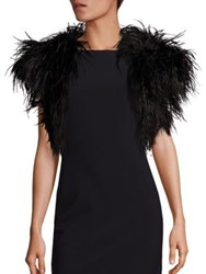 Harrison Morgan Ostrich Feather Shrug Black