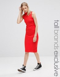 Noisy May Tall Knitted Ribbed Bodycon Skirt Red