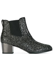 Hogan Sequined Ankle Boots Black