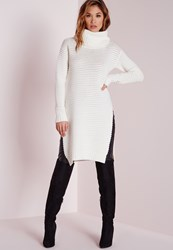 Missguided Knitted Chunky Turtle Neck Jumper Cream Cream