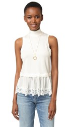 Rebecca Taylor Sleeveless Top With Lace Chalk