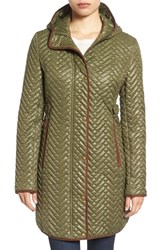 Larry Levine Women's Quilted Hooded Coat With Faux Suede Trim Sweet Pea