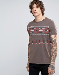 Asos T Shirt With Retro Aztec Print And Vintage Wash Ebony Grey