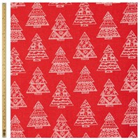 John Lewis Linen Look Christmas Tree Fabric Red Natural