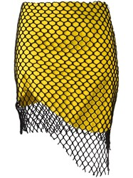 Marques Almeida Marques'almeida Mesh Overlay Asymmetric Skirt Yellow Orange