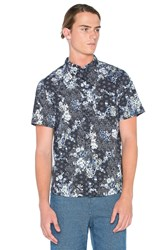 Native Youth Floral Sashiko Shirt Navy