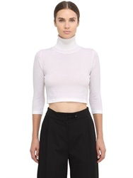 Space Style Concept Cropped Extra Fine Merino Wool Sweater