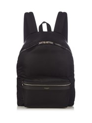 Saint Laurent Leather Trim Nylon Backpack Black