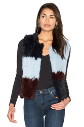 525 America Patchwork Rabbit Fur Vest Blue