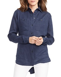 Lauren Ralph Lauren Linen Button Down Shirt Indigo Sky
