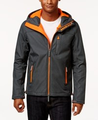 Superdry Men's Windtrekker Soft Shell Hooded Coat Dark Grey Marl Fluro Orange