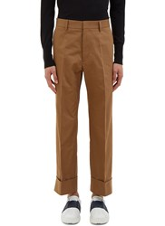 Gucci Cropped Herringbone Cuff Pants Khaki