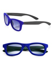 Italia Independent Square Velvet Frame Sunglasses Black Blue