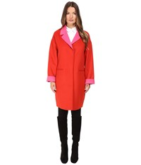 Kate Spade Single Breasted Hidden Button Peacoat 36 Lollipop Red Pink Swirl Women's Coat