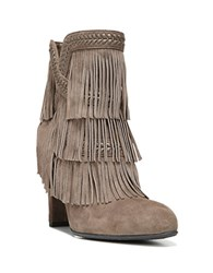 Sam Edelman Kaleb Layered Fringe Suede Booties Grey