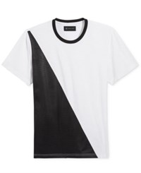 Inc International Concepts Men's Faux Leather Colorblocked T Shirt Only At Macy's White Pure