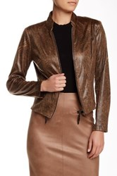 Insight Distressed Faux Leather Jacket Brown
