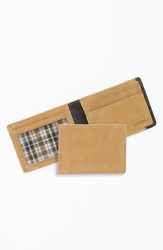 Boconi 'Leon Slimster' Leather Wallet Camel Green Plaid