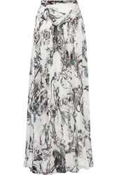 Matthew Williamson Printed Silk Chiffon Maxi Skirt White
