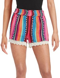 Design Lab Lord And Taylor Textured Lace Trimmed Shorts Pink