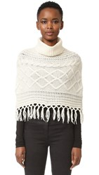 Tse Cashmere Claudia Schiffer X Cable Capelet With Fringe White