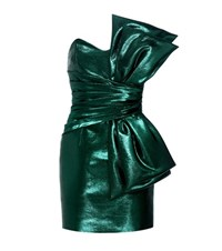 Saint Laurent Cotton Blend Metallic Strapless Dress Green