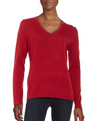 Lord And Taylor Merino Wool V Neck Sweater Geranium