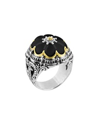 Konstantino Iris Carved Black Onyx Flower Ring Size 7
