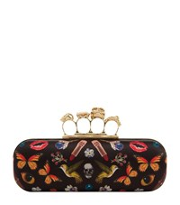 Alexander Mcqueen Obsession Satin Knuckle Clutch Female Multi