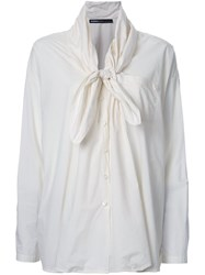Rundholz Tied Collar Longsleeved Blouse White