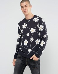 Asos Jumper With All Over Floral Design Navy