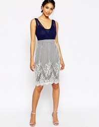 Little Mistress Wrap Front Dress With Lace Skirt Navy