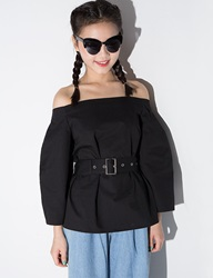 Pixie Market Black Belted Off The Shoulder Shirt