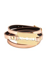 Mcq By Alexander Mcqueen Leather Bracelet With Razor Blade Motif Gold