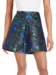 Proenza Schouler Pleated Feather Jacquard Skirt Black Multi