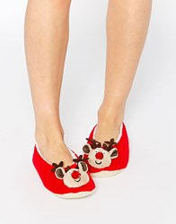 Asos Now Its Christmas Reindeer Slippers Red
