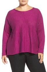 Eileen Fisher Plus Size Women's Organic Linen And Cotton Bateau Neck Sweater Petunia
