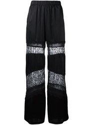 Twin Set Lace Panel Flared Trousers Black