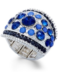 Style And Co. Silver Tone Blue Stone Dome Ring