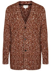 Solid Homme Brown Melange Chunky Knit Cardigan Terracotta