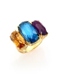 Marco Bicego Murano Citrine Amethyst London Blue Topaz And 18K Yellow Gold Three Stone Ring Gold Multi