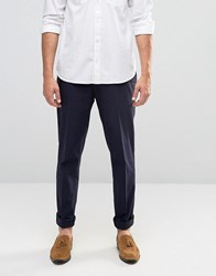 Asos Skinny Smart Trousers In Seersucker In Navy Navy