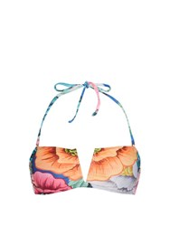 Mara Hoffman Floral Print Bandeau Bikini Top Orange Multi