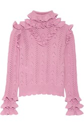 Gucci Ruffled Pointelle Knit Wool Blend Sweater Baby Pink