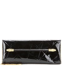 Tom Ford East West Snake Heads Patent Leather Clutch Black
