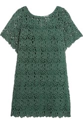 Miguelina Grace Cotton Guipure Lace Coverup Green