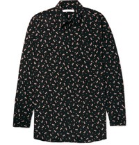 Givenchy Columbian Fit Floral Print Silk Shirt Black