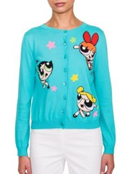 Moschino Cotton Powderpuff Cardigan Light Blue
