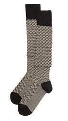 Missoni Thigh High Zigzag Sock Set Black